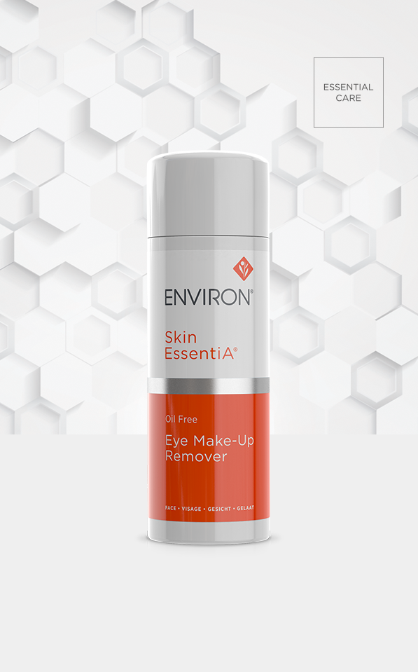 A bottle of Environ Skin EssentiA Oil Free Eye Make-Up Remover