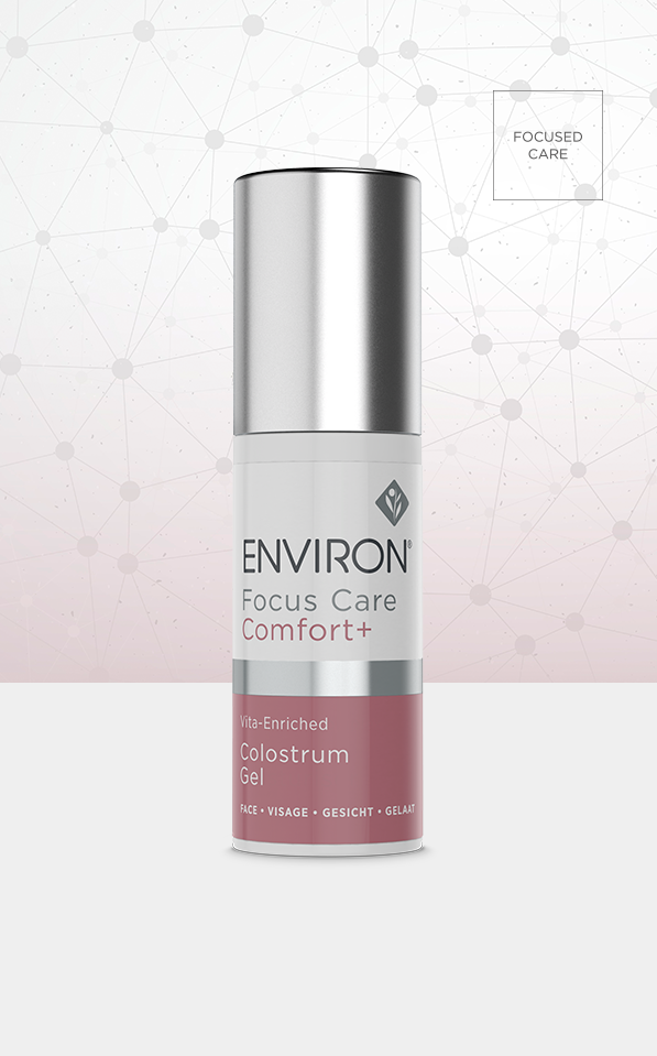 A bottle of Environ Focus Care Comfort+ Vita-Enriched Colostrum Gel