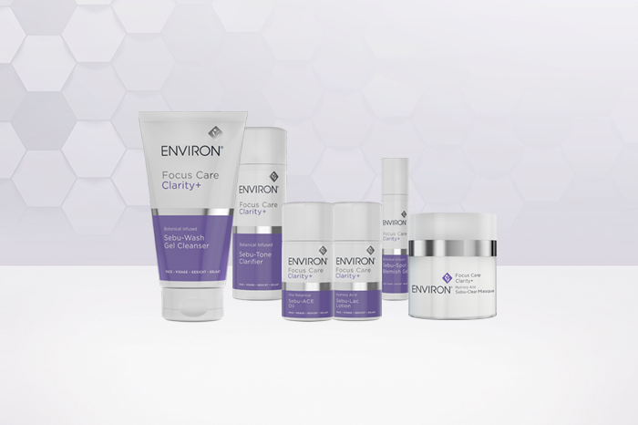 Image of all the products of Environ Focus Care Clarity+ Range