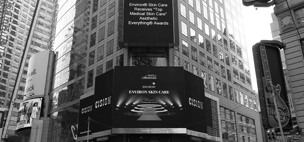 Black and white image of Environ's Top Medical Skin Care Aesthetic Everything Awards
