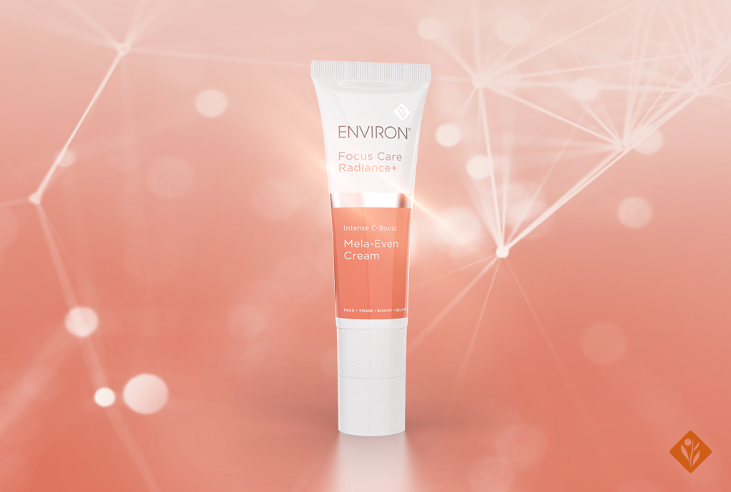 Environ's Focus Care Radiance+ C-Boost Mela-Even Cream, sparkly background