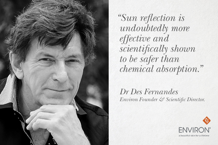 Dr. Des qoute on sun reflection health vs chemical absorption