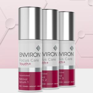Environ Focus Care Youth+ Concentrated Retinol Serum 1, 2 & 3, pink background