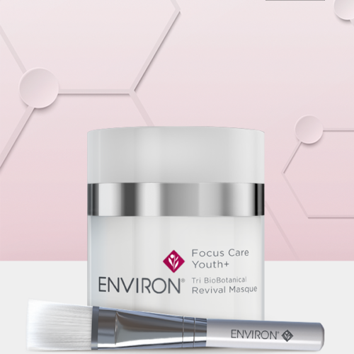 Environ Focus Care Youth+ Tri BioBotanical Revival Masque and brush