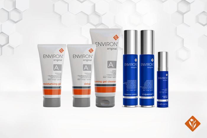 Environ's Original Range and Ionzyme Range, white 3D background