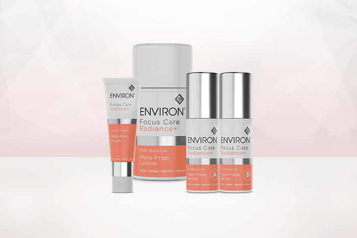Environ Focus Care Radiance+ Range, light pink background