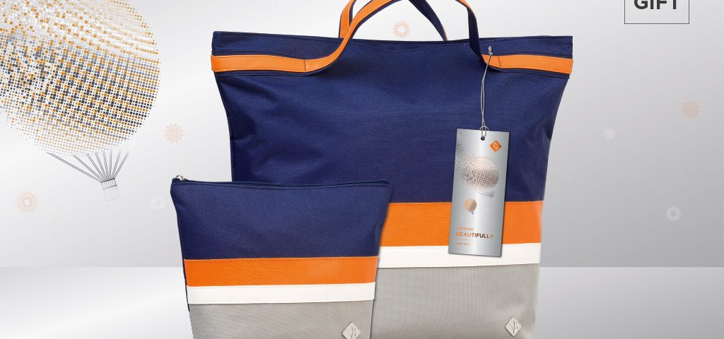 Environ cosmetic travel bags in blue, orange and grey